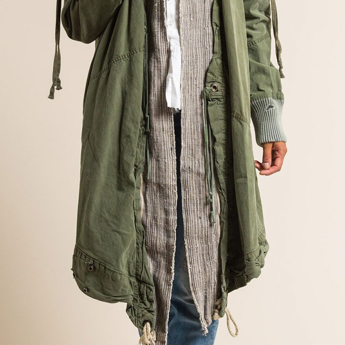 Greg Lauren Army Tent & Antique Linen Kimono Jacket in Army Green | Santa Fe Dry Goods & Workshop
