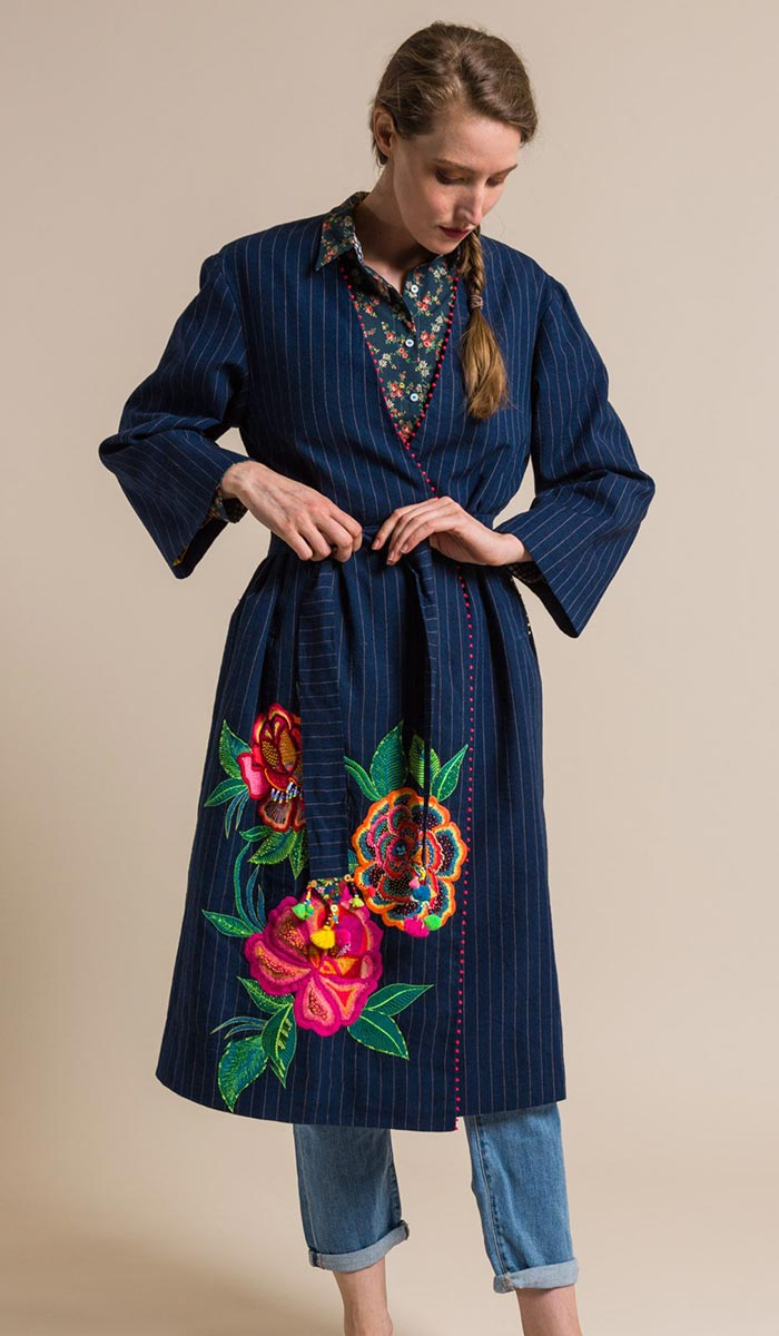 Péro Linen Beaded and Embroidered Long Belted Jacket in Indigo Blue