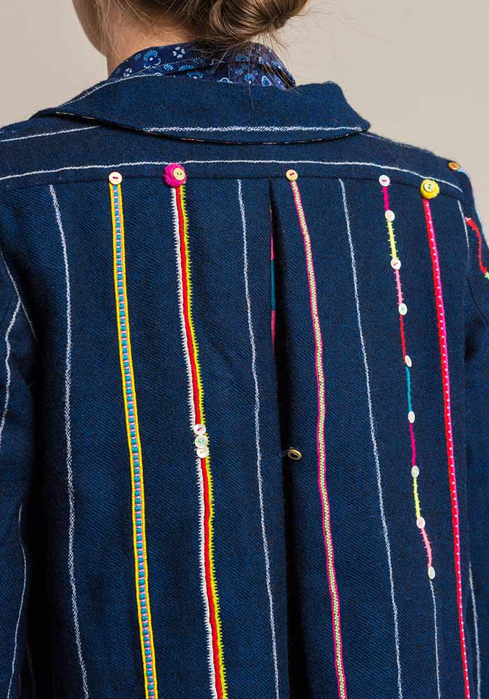 Péro Silk Lined Wool Indigo Embroidered and Beaded Stripe Jacket