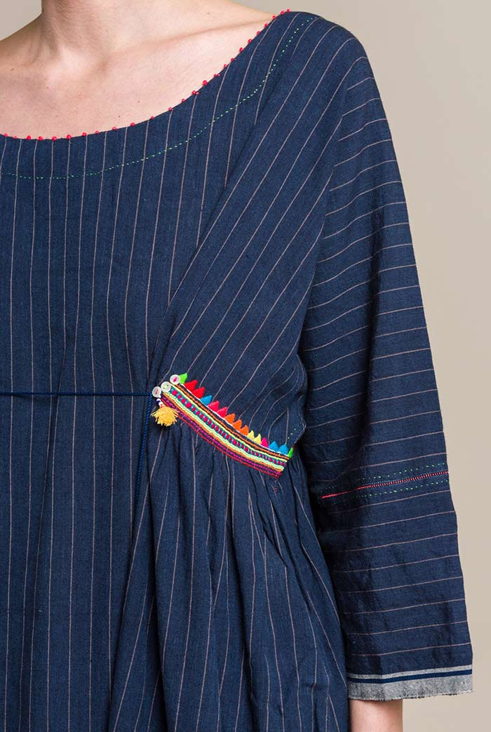 Péro Linen/Cotton Striped and Embellished Long Dress in Indigo Blue
