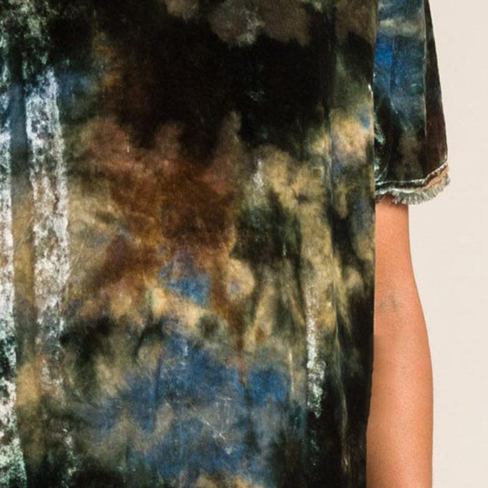 Raquel Allegra Velvet Raw Edge Long Top in Forest Green | Santa Fe Dry Goods & Workshop