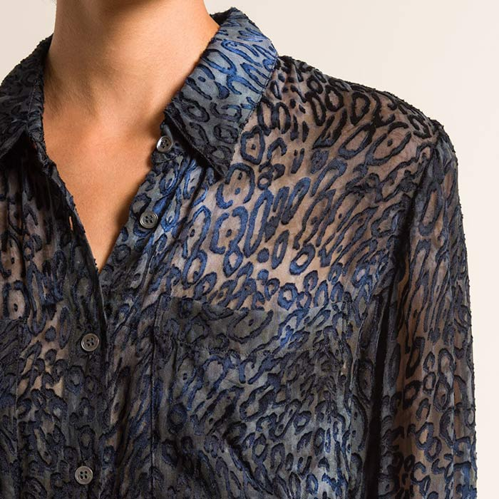 Raquel Allegra Velvet/Sheer Relaxed Shirt in Ink Blue