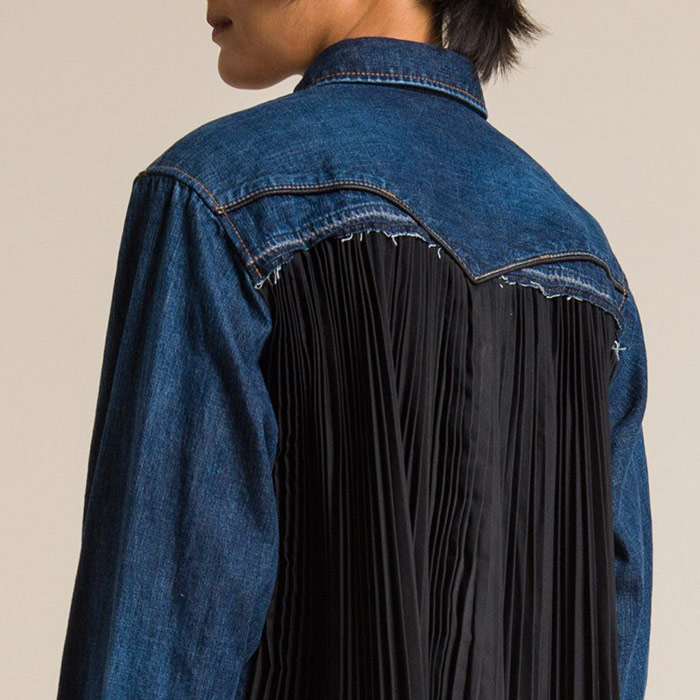 Sacai Cotton Denim Back Pleated Shirt in Blue | Santa Fe Dry Goods & Workshop