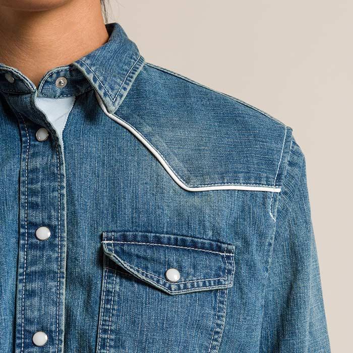 Sacai Cotton Denim Back Pleated Shirt in Light Blue | Santa Fe Dry Goods & Workshop