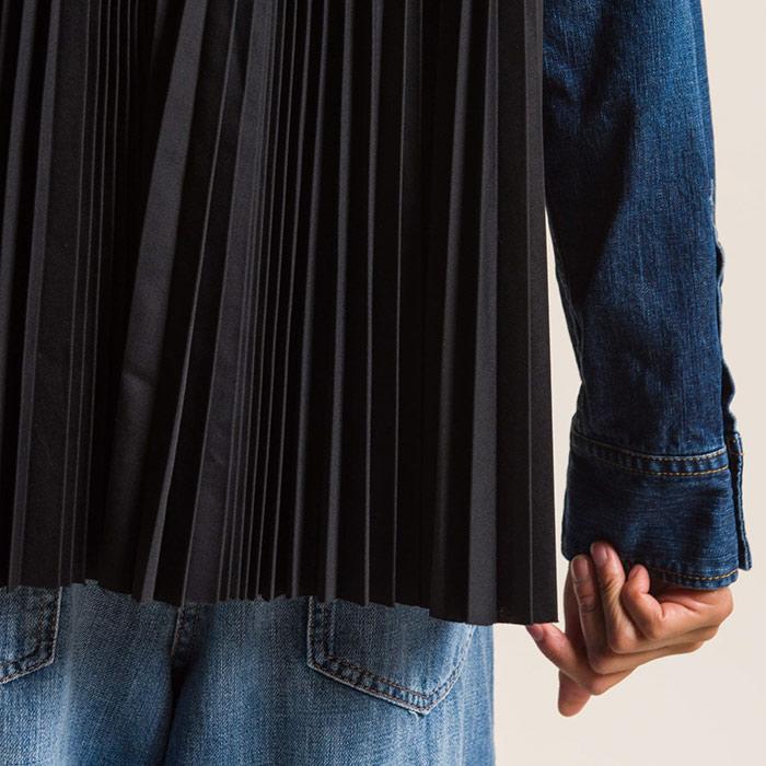 Sacai Cotton Denim Back Pleated Shirt in Blue | Santa Fe Dry Goods & Workshop