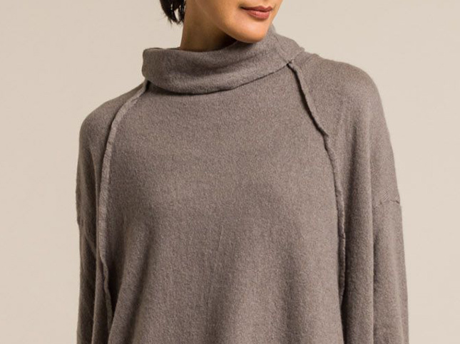 Rundholz Cashmere Oversized Knitted Tunic in Flanellgrau Grey