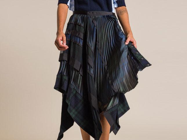 Sacai Flannel Plaid Skirt in Blue/Plaid | Santa Fe Dry Goods & Workshop