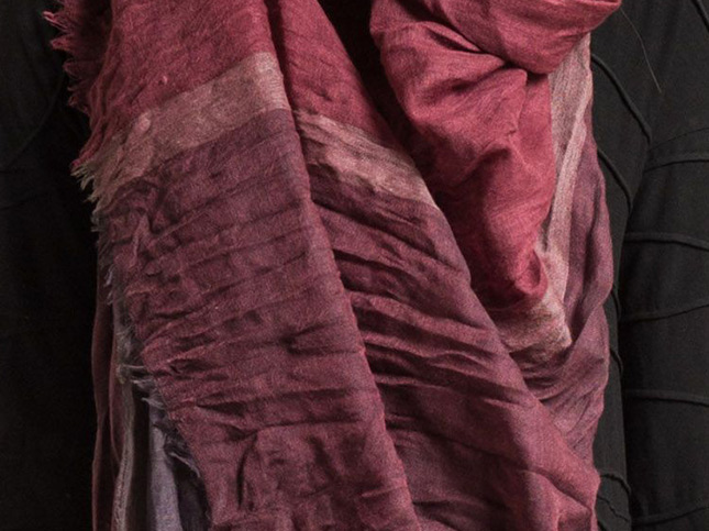 Oska Wool Crinkled Xylon Scarf in Merlot | Santa Fe Dry Goods & Workshop