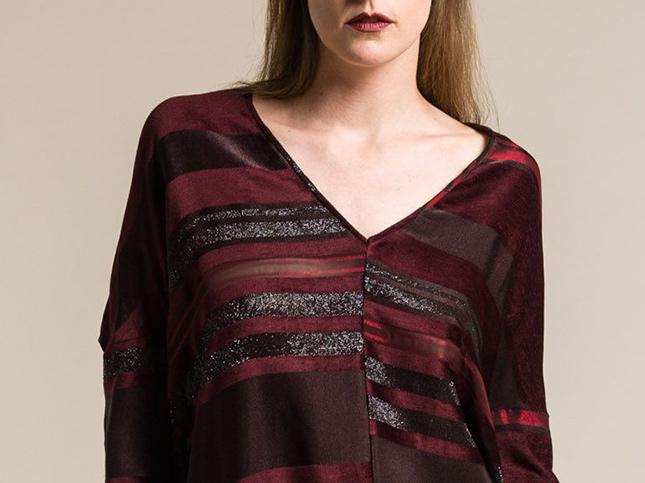 Zero + Maria Cornejo Koya Luxe Stripe Top in Merlot/Crimson