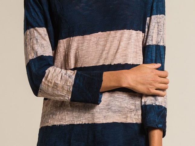 Gilda Midani Pattern Dyed V-Neck Long Sleeve Tee in Cream & Deep Blue Stripes | Santa Fe Dry Goods