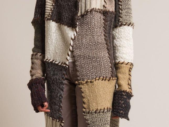 Kloshar Wool Venus Cardigan in Warm Colors/Brown