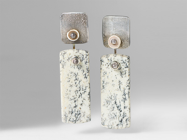 Holly Masterson Black & White Jasper Rectangle Earrings