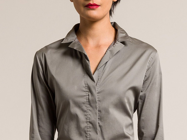 Lareida Grey Stretch Cotton Stand Collar Catharina Shirt