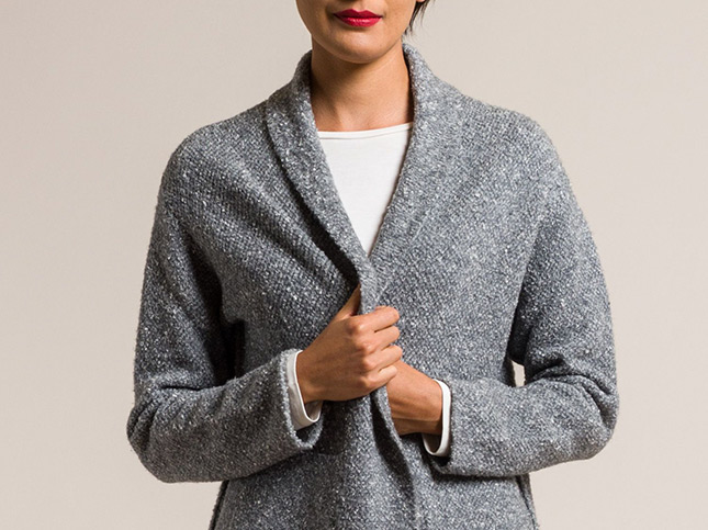 Oska Wool Unsta Cardigan in Granite Grey