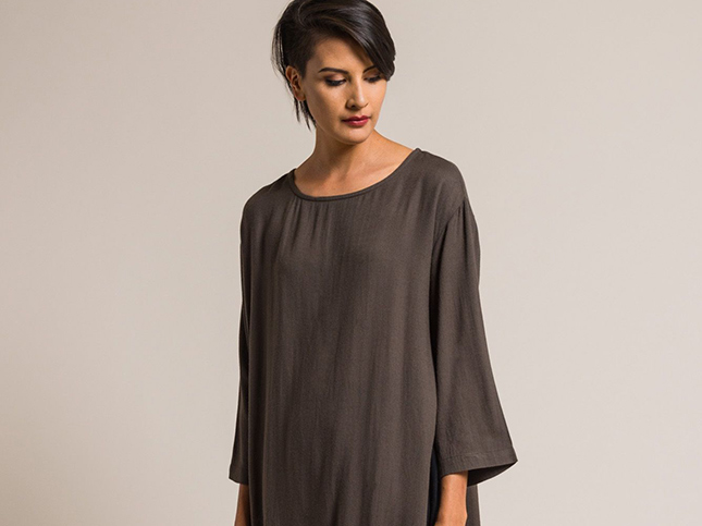 Black Crane Long Side Slit Top in Charcoal
