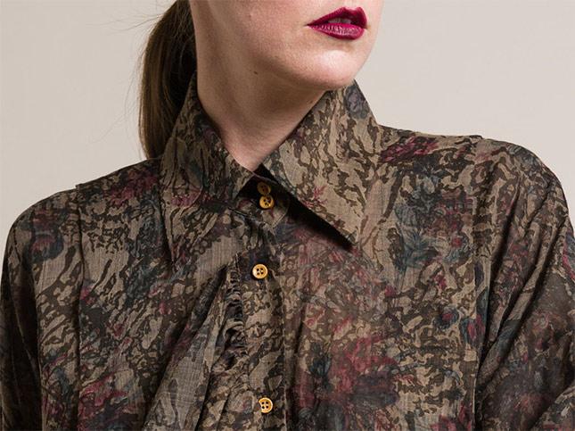 Uma Wang Wool Trella Ruffle Tunic Shirt in Brown