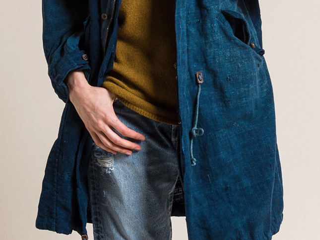 Kaval Antique Japanese Cotton & Linen Indigo Fishtail Long Coat in Dark Indigo