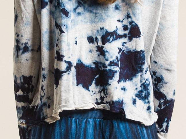 Gilda Midani: Long Sleeve Straight Trapeze Tee in Blue Stain
