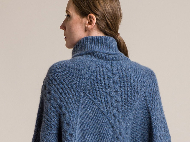Hania by Anya Cole Cashmere Swanilda Turtleneck Sweater in Denim Blue