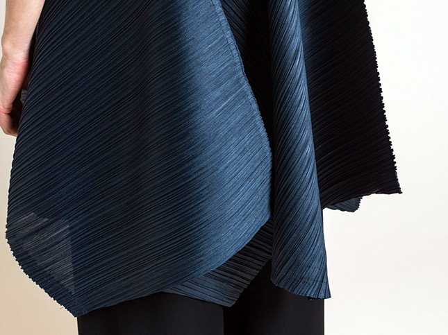 Issey Miyake Pleats Please Zig Zag A-Line Dress in Steel Blue