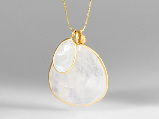 Pippa Small 18K Gold Drop & Double Rainbow Moonstone Pendant