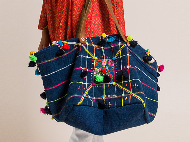 Péro by Aneeth Arora Pero Embroidered Cotton with Tassels and Bells Tote Navy