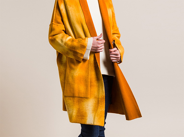 Avant Toi Cashmere and Virgin Wool Oversized Cardigan in Girasole Yellow