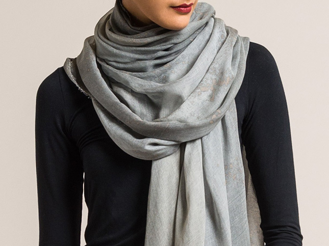 Avant Toi Modal Splatter Dyed Scarf in Grey