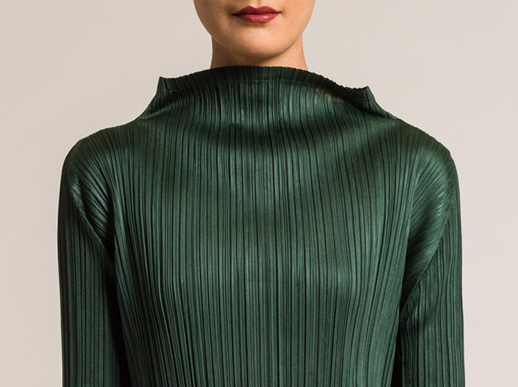 Issey Miyake Pleats Please October Tunic in Forest Green