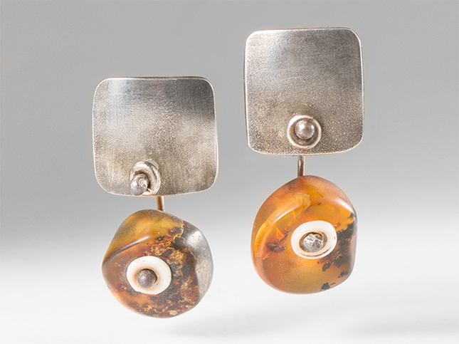 Holly Masterson Ancient Chiapas Amber & Silver Earrings