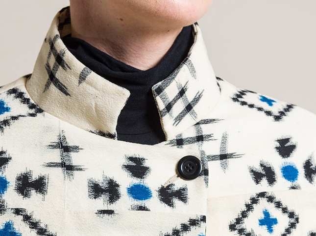 Casey Casey Vintage Kimono Short Jacket in Natural Geometric