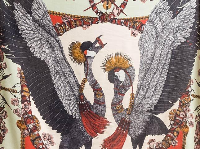 Sabina Savage Wool/Silk the Cranes of Canton Scarf in Matcha/Lantern