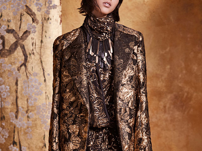 Urban Zen Reefer Silk Floral Jacquard Jacket in Gold Leaf
