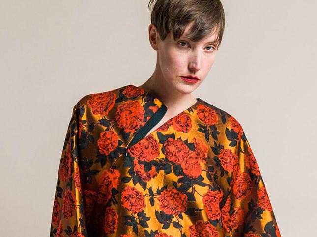 Ms MIN Floral Batwing Top in Fluor Orange