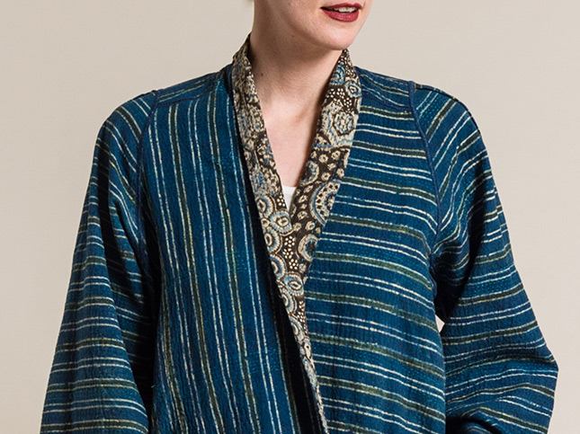Mieko MIntz 2-Layer Ajrakh Print A-Line Jacket in Brown/Blue