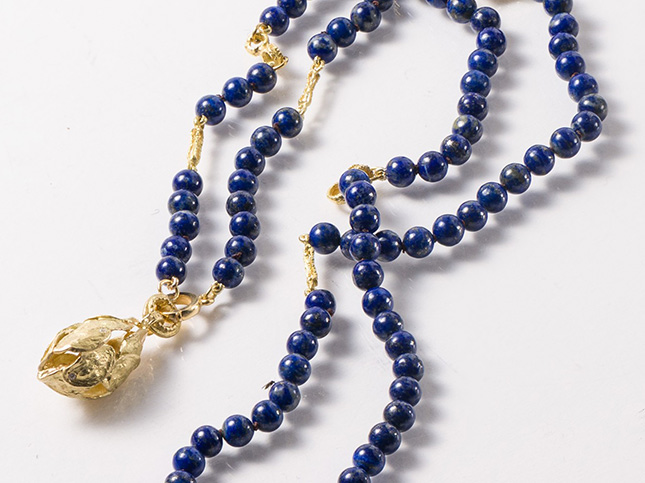 Tovi Farber 18K Gold and Diamond Pendant & Lapis Bead Necklace