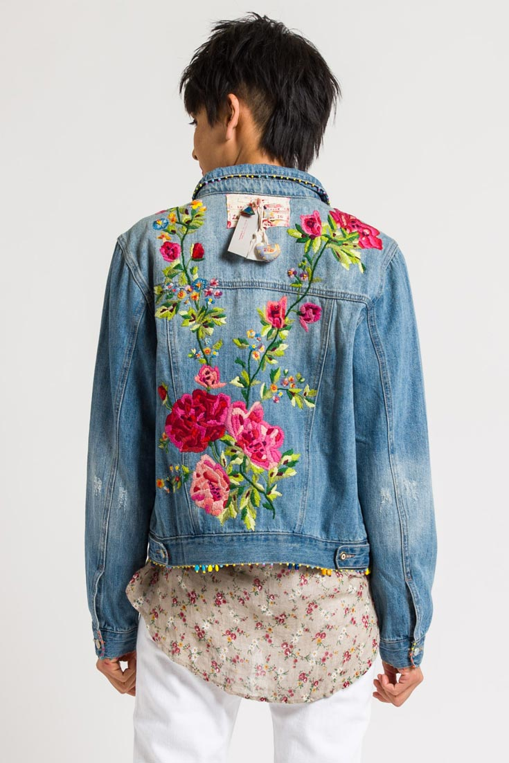 Péro by Aneeth Arora Limited Edition Denim Jacket #16 with Embroidered Flowers