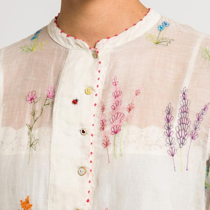 Péro by Aneeth Arora Embroidered Floral Sheer Top in Natural