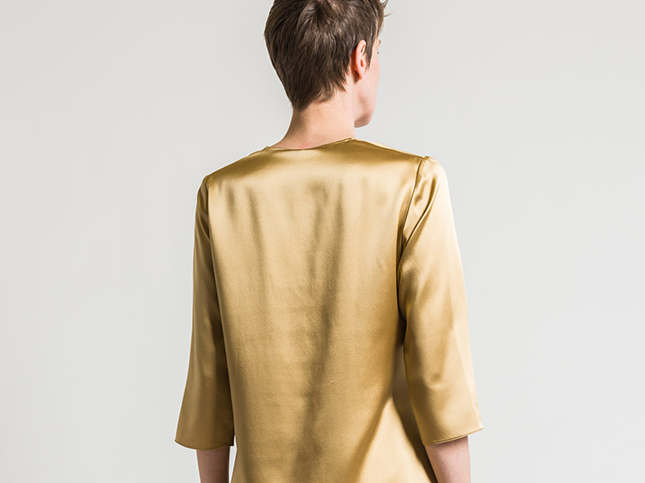 peter cohen silk top in gold