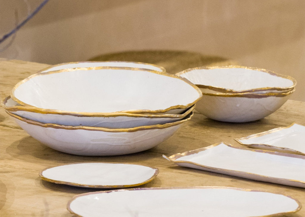 jan burtz metallic plates and bowls