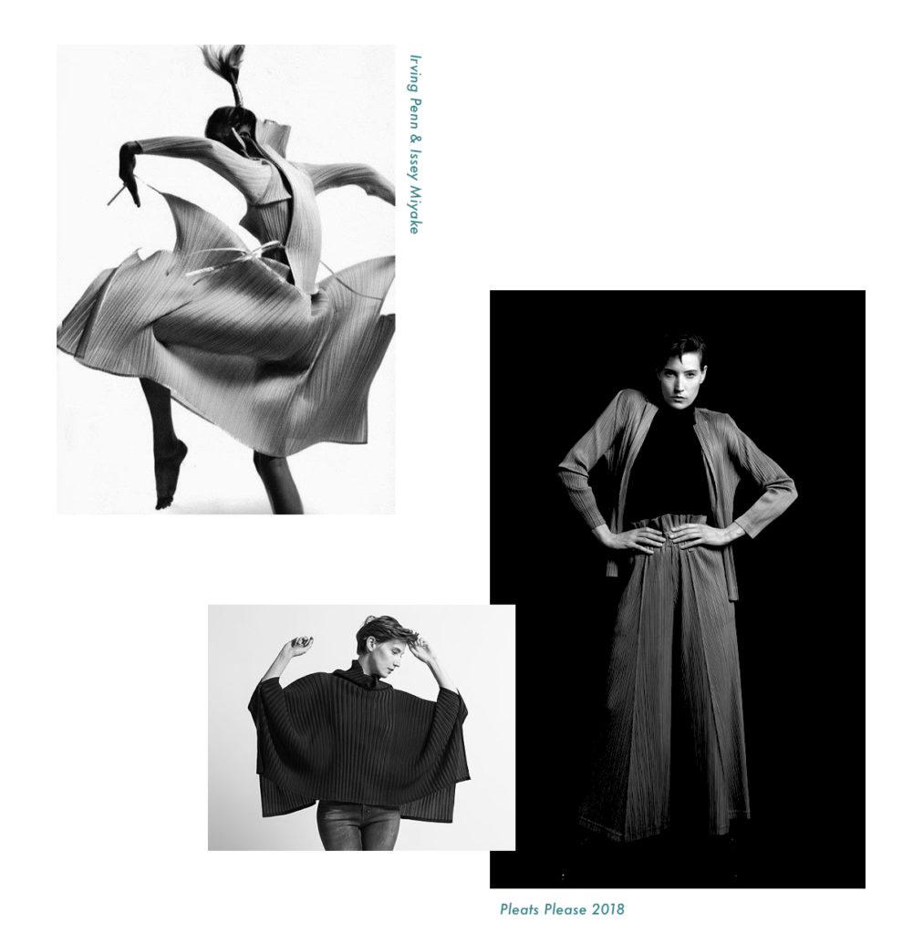 Upper Left: Irving Penn and Issey Miyake, Lower Right: Issey Miyake Pleats Please 2018