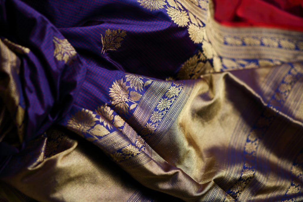 violet and gold threaded sari