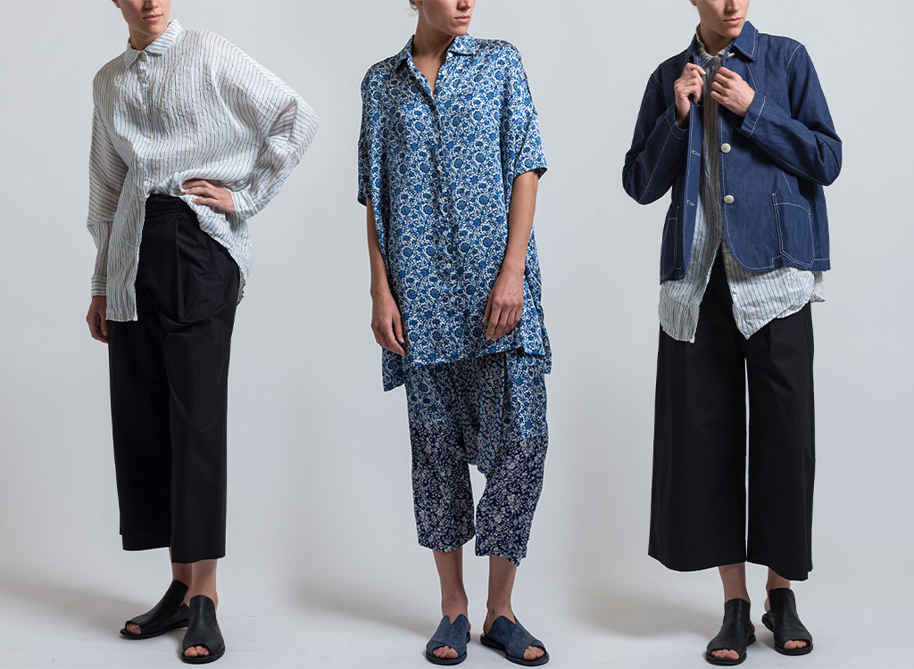 Casey Casey Striped Waga Shirt in White, Orsan Jacket in Indigo, Long Oversized Shirt in Blue