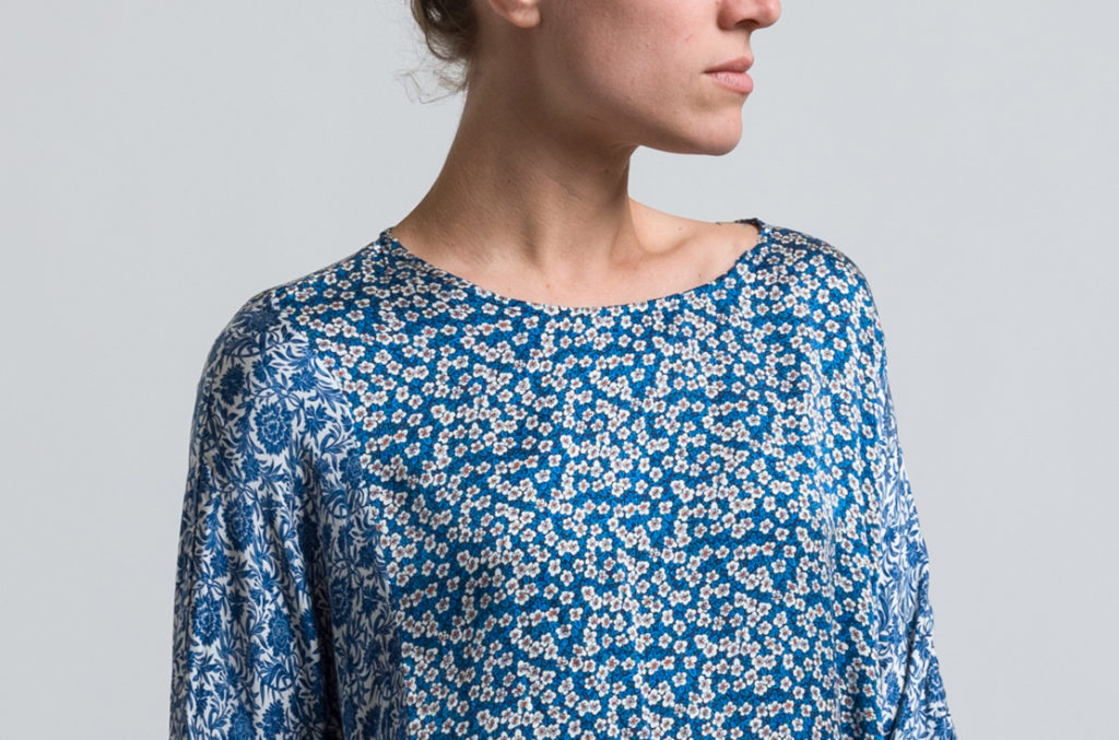 Casey Casey Floral Print PYJ Tunic in Blue