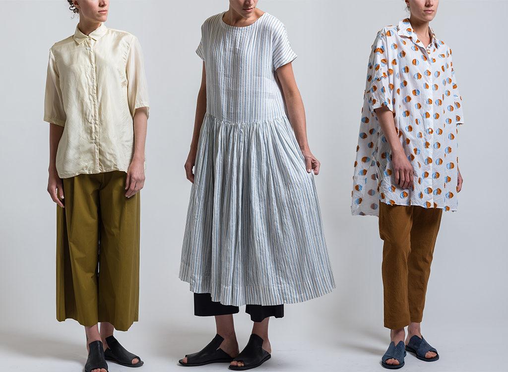 Casey Casey Silk Habotai Shirt in Cream, Striped Pasha Dress in White, Odem Pom Pom Shirt in White