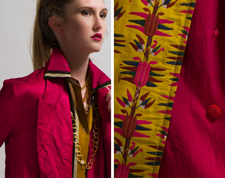 Pero Long Beaded Flower Dress in Bright Pink and Etro Belted Floral Pattern Coat in Yellow