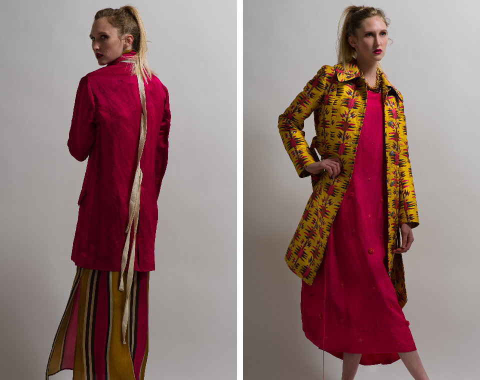 Uma Wan Cardedu Kaira Jacket in Flamingo, Etro Belted Floral Pattern Coat in Yellow and Pero Dress