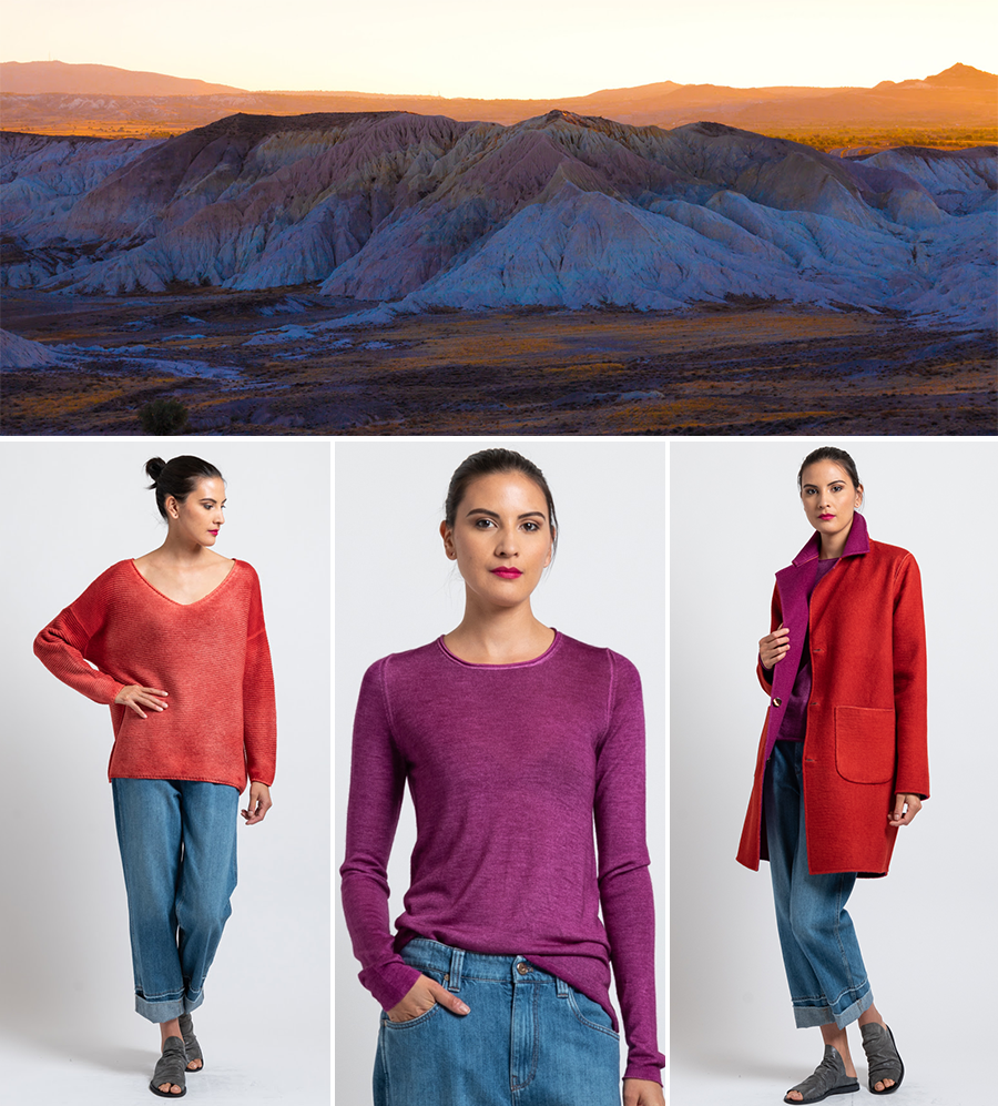 Avant Toi Pre-Fall 2019 - Ombre V-Neck Sweater in Coral, Rolled Hem Sweater in Magenta, Reversible Coat in Magenta/ Paprika