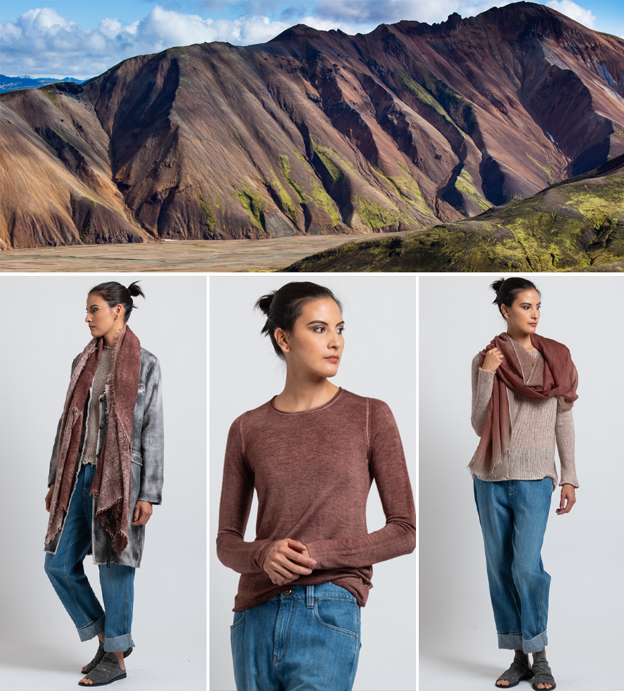 Hemp Jacket in Carruba, Rolled Hem Sweater in Brick, Cashmere Ombre Border Scarf in Brick
