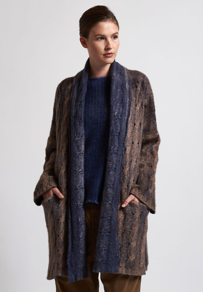 f cashmere Two-Toned Cardigan in Natural